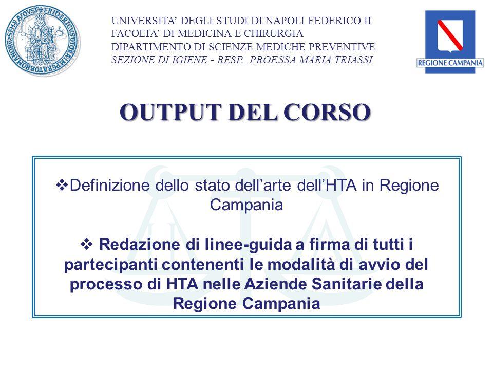 Definizione dello stato dell'arte dell'HTA in Regione Campania