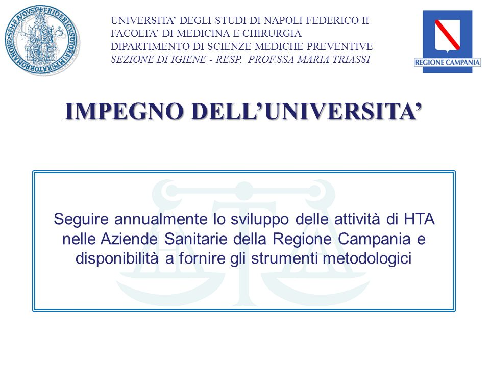 IMPEGNO DELL'UNIVERSITA'