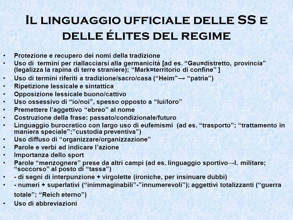 Il linguaggio ufficiale delle SS e delle élites del regime