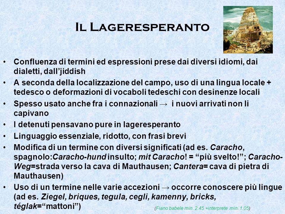 Il Lageresperanto Confluenza di termini ed espressioni prese dai diversi idiomi, dai dialetti, dall'jiddish.