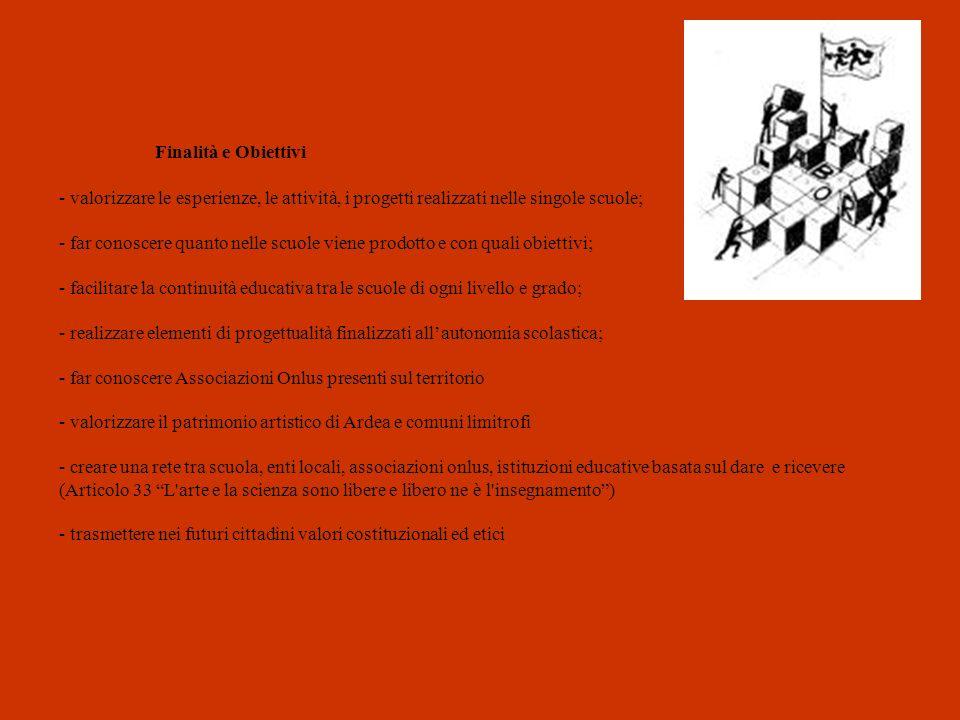 Finalità e Obiettivi - valorizzare le esperienze, le attività, i progetti realizzati nelle singole scuole; - far conoscere quanto nelle scuole viene prodotto e con quali obiettivi; - facilitare la continuità educativa tra le scuole di ogni livello e grado; - realizzare elementi di progettualità finalizzati all'autonomia scolastica; - far conoscere Associazioni Onlus presenti sul territorio - valorizzare il patrimonio artistico di Ardea e comuni limitrofi - creare una rete tra scuola, enti locali, associazioni onlus, istituzioni educative basata sul dare e ricevere (Articolo 33 L arte e la scienza sono libere e libero ne è l insegnamento ) - trasmettere nei futuri cittadini valori costituzionali ed etici