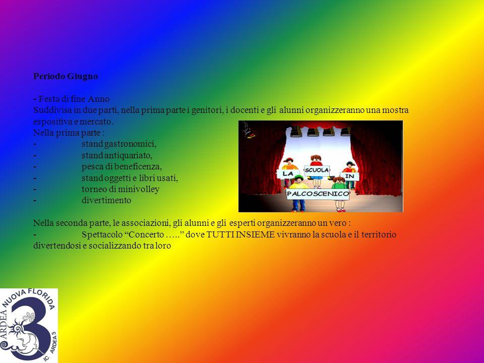 Periodo Giugno - Festa di fine Anno Suddivisa in due parti, nella prima parte i genitori, i docenti e gli alunni organizzeranno una mostra espositiva e mercato.