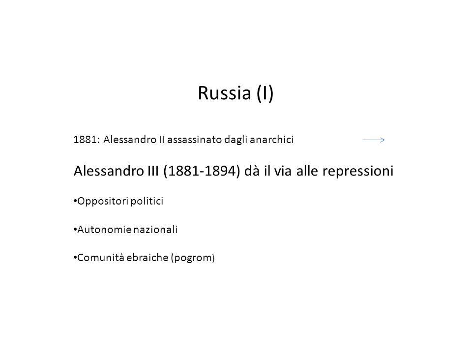 Russia (I) Alessandro III (1881-1894) dà il via alle repressioni