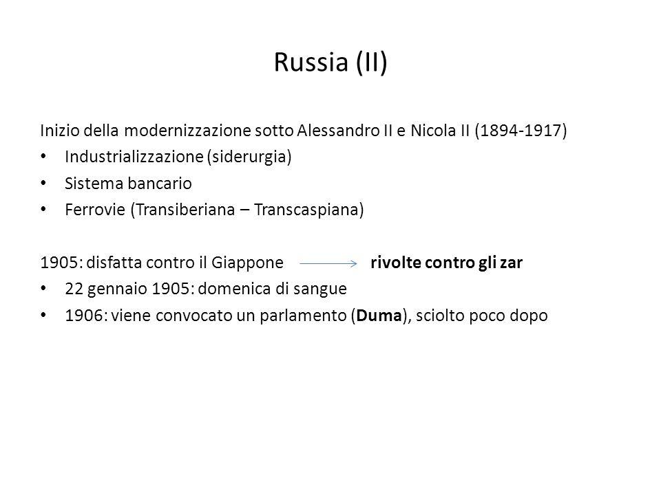 Russia (II) Inizio della modernizzazione sotto Alessandro II e Nicola II (1894-1917) Industrializzazione (siderurgia)
