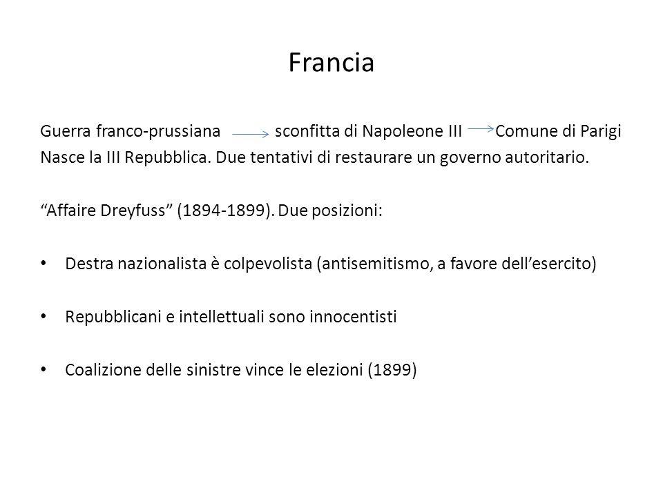 Francia Guerra franco-prussiana sconfitta di Napoleone III Comune di Parigi.