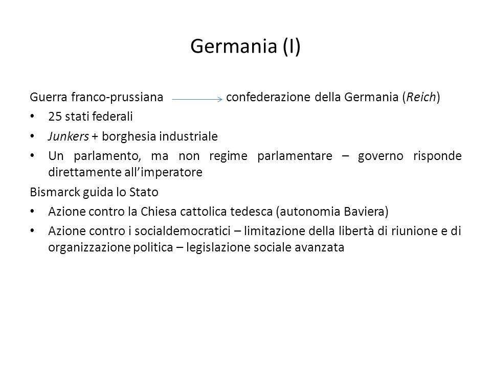 Germania (I) Guerra franco-prussiana confederazione della Germania (Reich) 25 stati federali. Junkers + borghesia industriale.