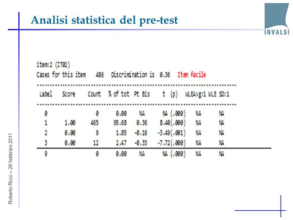 Analisi statistica del pre-test