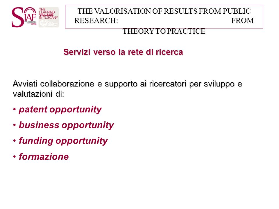 patent opportunity business opportunity funding opportunity formazione