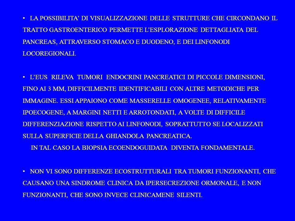 LA POSSIBILITA' DI VISUALIZZAZIONE DELLE STRUTTURE CHE CIRCONDANO IL TRATTO GASTROENTERICO PERMETTE L'ESPLORAZIONE DETTAGLIATA DEL PANCREAS, ATTRAVERSO STOMACO E DUODENO, E DEI LINFONODI LOCOREGIONALI.