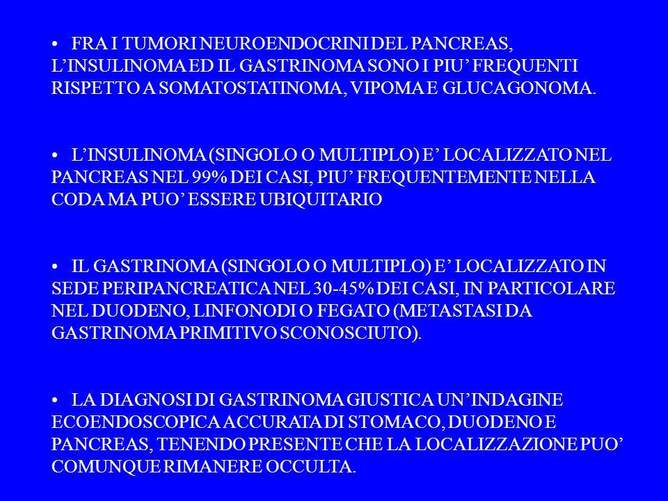 FRA I TUMORI NEUROENDOCRINI DEL PANCREAS, L'INSULINOMA ED IL GASTRINOMA SONO I PIU' FREQUENTI RISPETTO A SOMATOSTATINOMA, VIPOMA E GLUCAGONOMA.