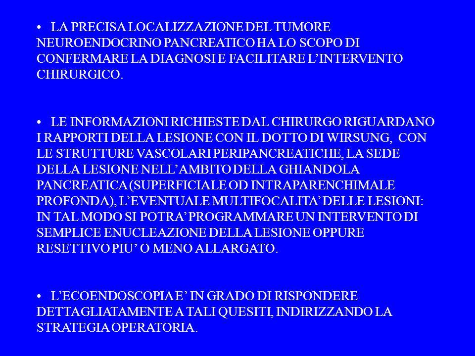 LA PRECISA LOCALIZZAZIONE DEL TUMORE NEUROENDOCRINO PANCREATICO HA LO SCOPO DI CONFERMARE LA DIAGNOSI E FACILITARE L'INTERVENTO CHIRURGICO.