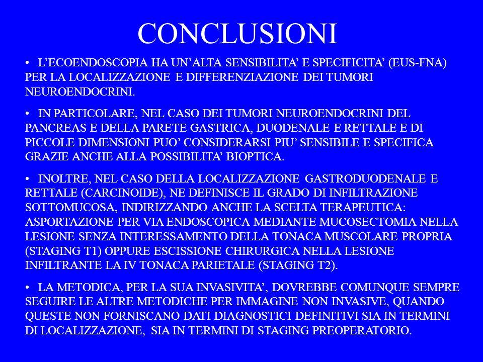 CONCLUSIONI L'ECOENDOSCOPIA HA UN'ALTA SENSIBILITA' E SPECIFICITA' (EUS-FNA) PER LA LOCALIZZAZIONE E DIFFERENZIAZIONE DEI TUMORI NEUROENDOCRINI.