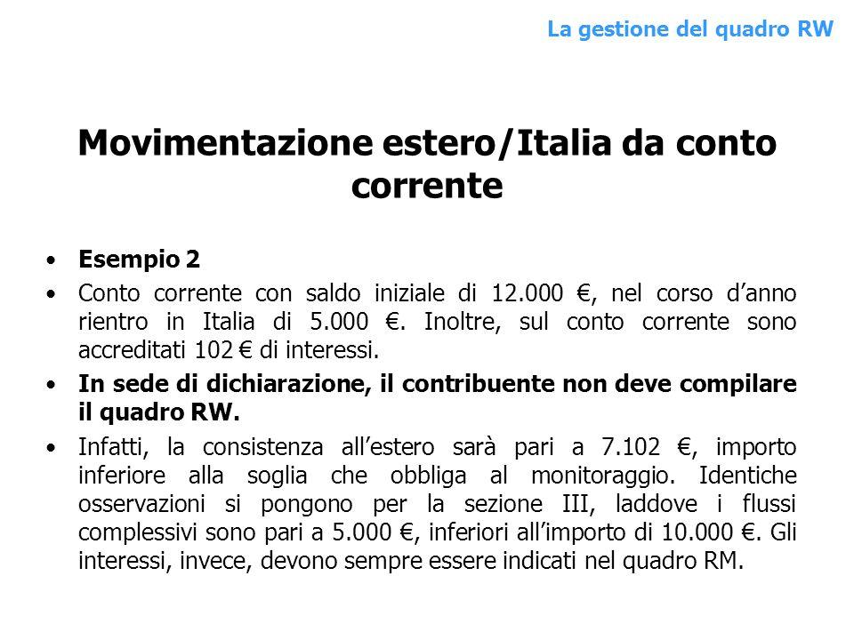 Movimentazione estero/Italia da conto corrente