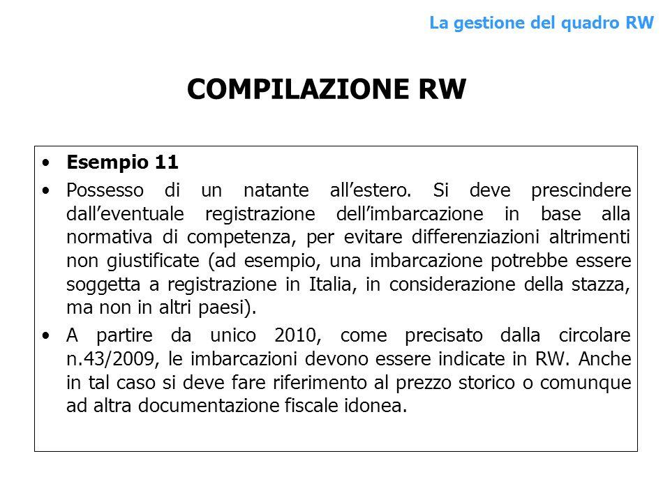 COMPILAZIONE RW Esempio 11