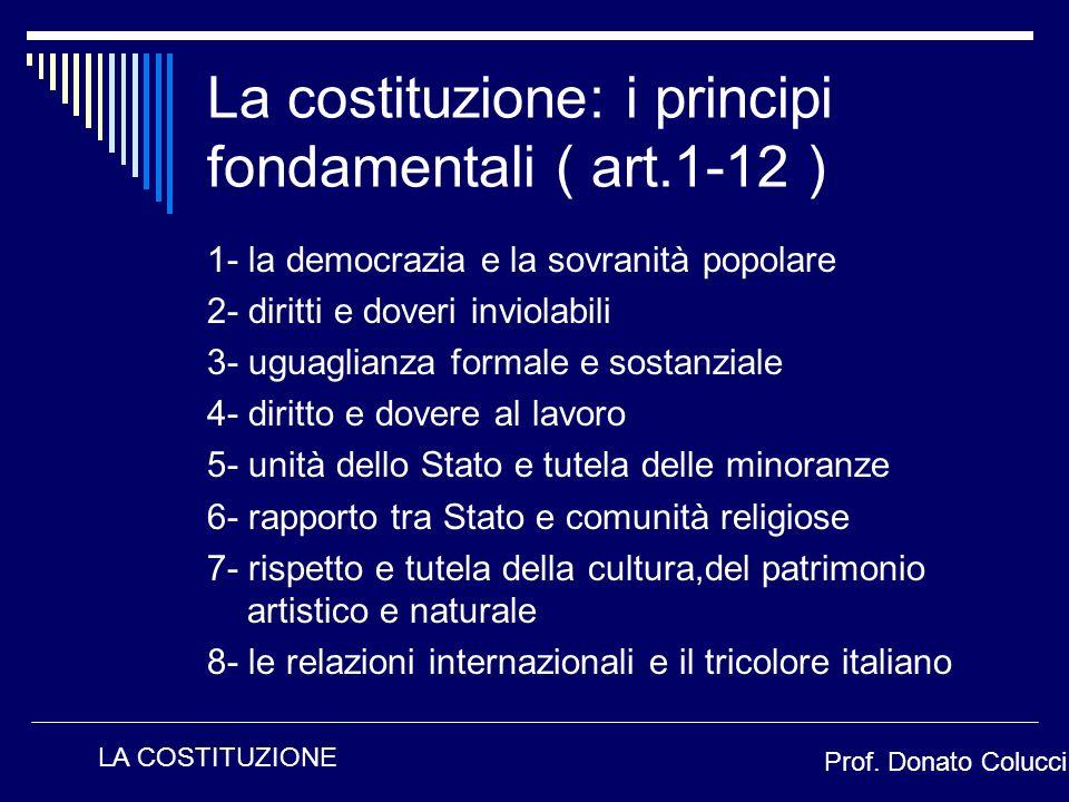 La costituzione: i principi fondamentali ( art.1-12 )