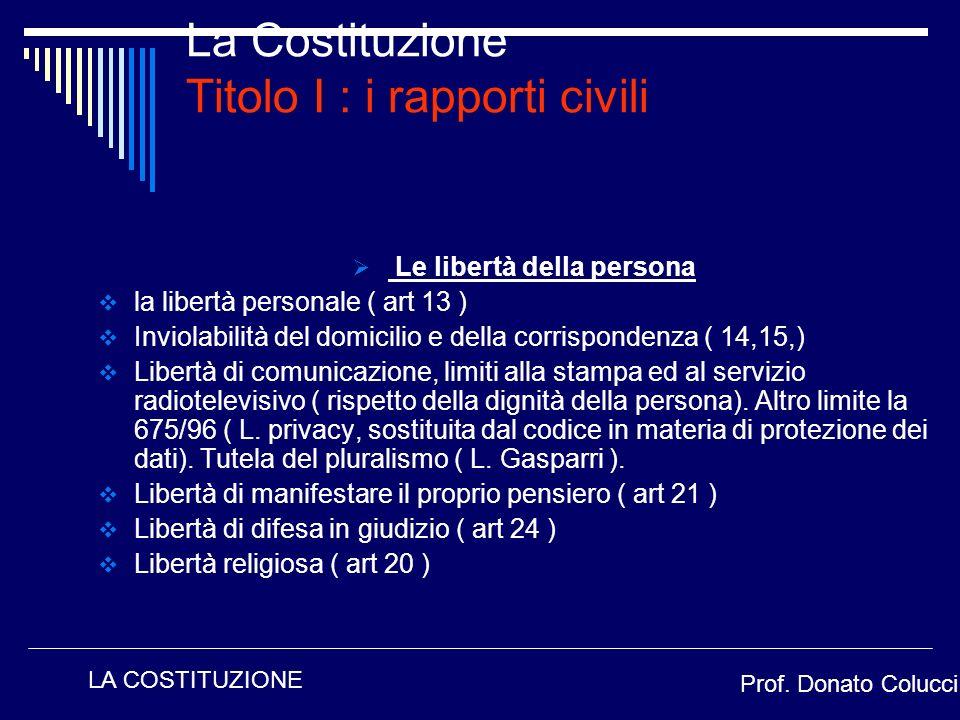 La Costituzione Titolo I : i rapporti civili