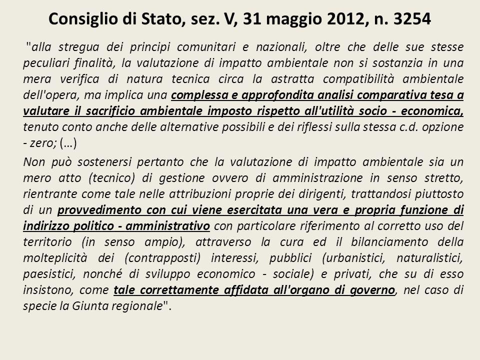 Consiglio di Stato, sez. V, 31 maggio 2012, n. 3254