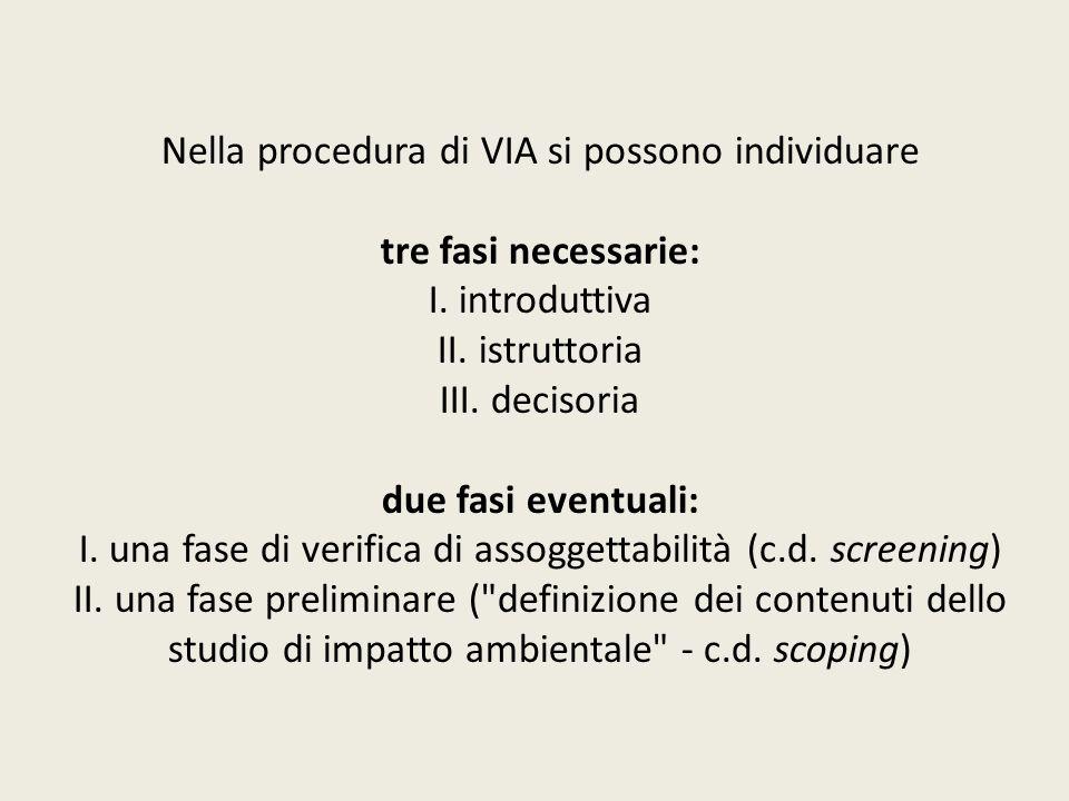 Nella procedura di VIA si possono individuare tre fasi necessarie: I