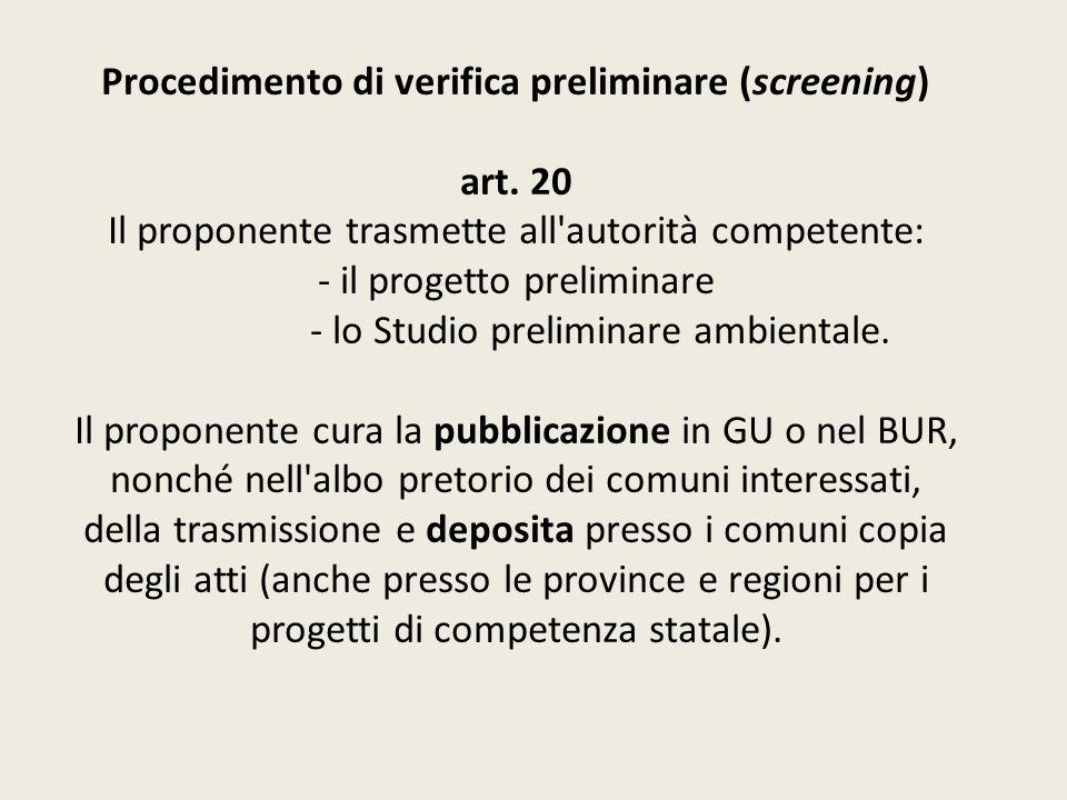 Procedimento di verifica preliminare (screening) art