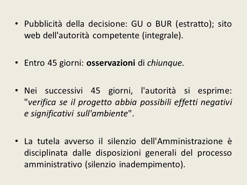 Pubblicità della decisione: GU o BUR (estratto); sito web dell autorità competente (integrale).