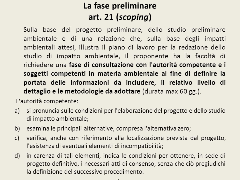 La fase preliminare art. 21 (scoping)