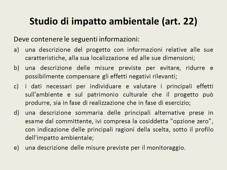 Studio di impatto ambientale (art. 22)