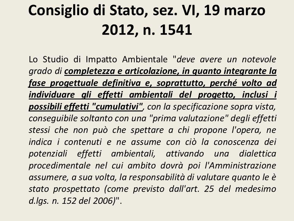 Consiglio di Stato, sez. VI, 19 marzo 2012, n. 1541