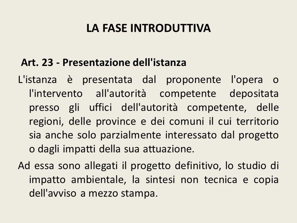 Art. 23 - Presentazione dell istanza