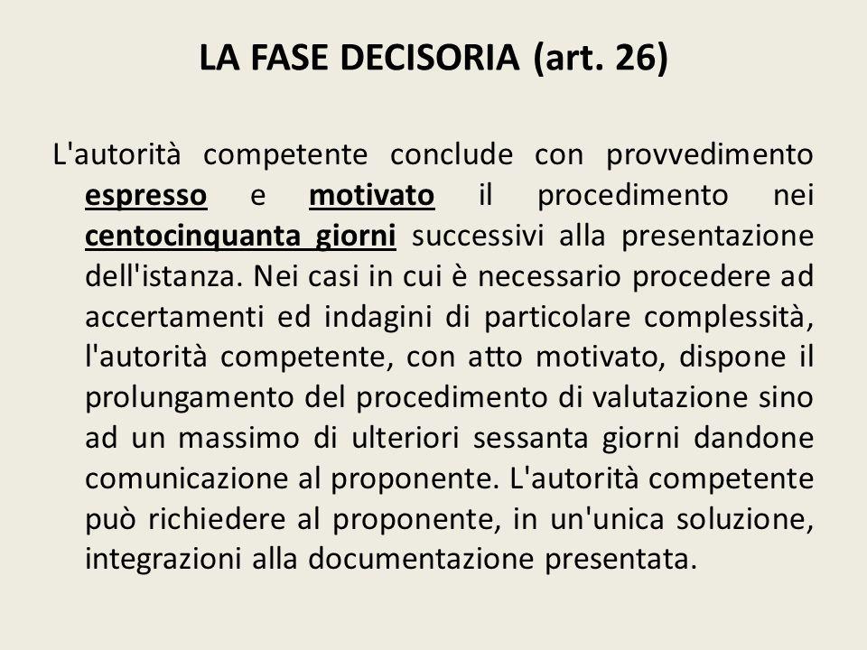 LA FASE DECISORIA (art. 26)