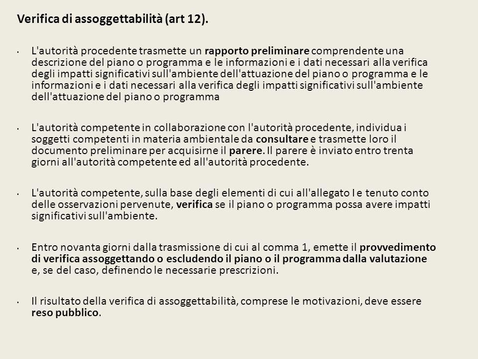 Verifica di assoggettabilità (art 12).