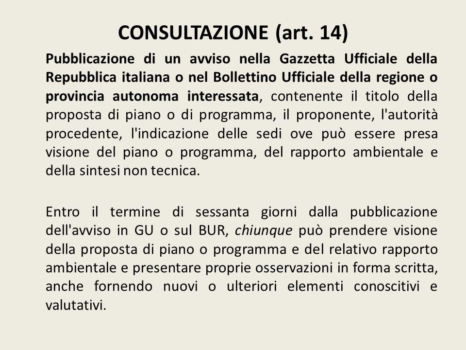 CONSULTAZIONE (art. 14)