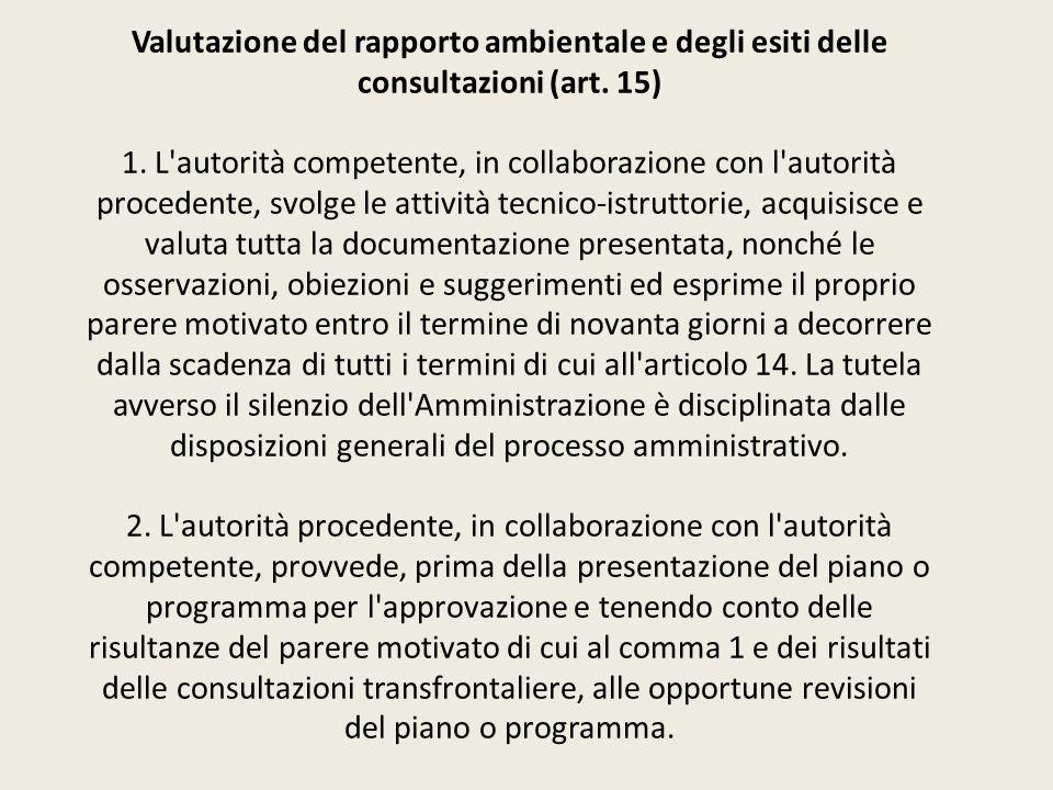 Valutazione del rapporto ambientale e degli esiti delle consultazioni (art.