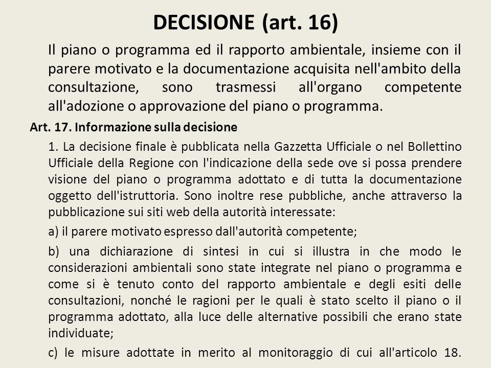 DECISIONE (art. 16)