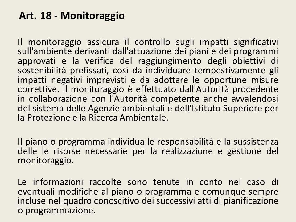 Art. 18 - Monitoraggio