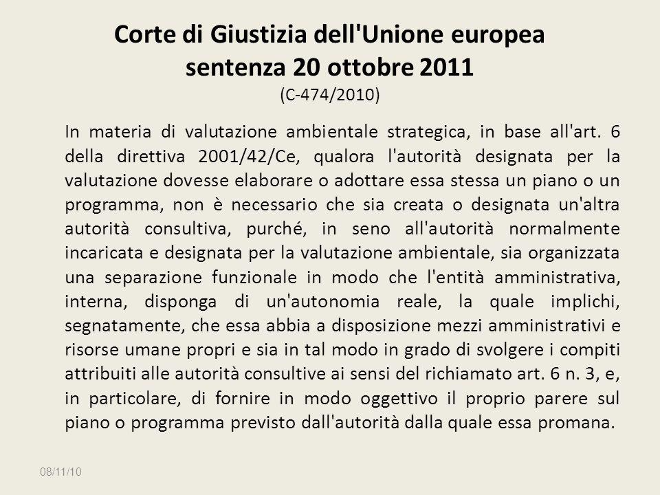 Corte di Giustizia dell Unione europea sentenza 20 ottobre 2011 (C‑474/2010)