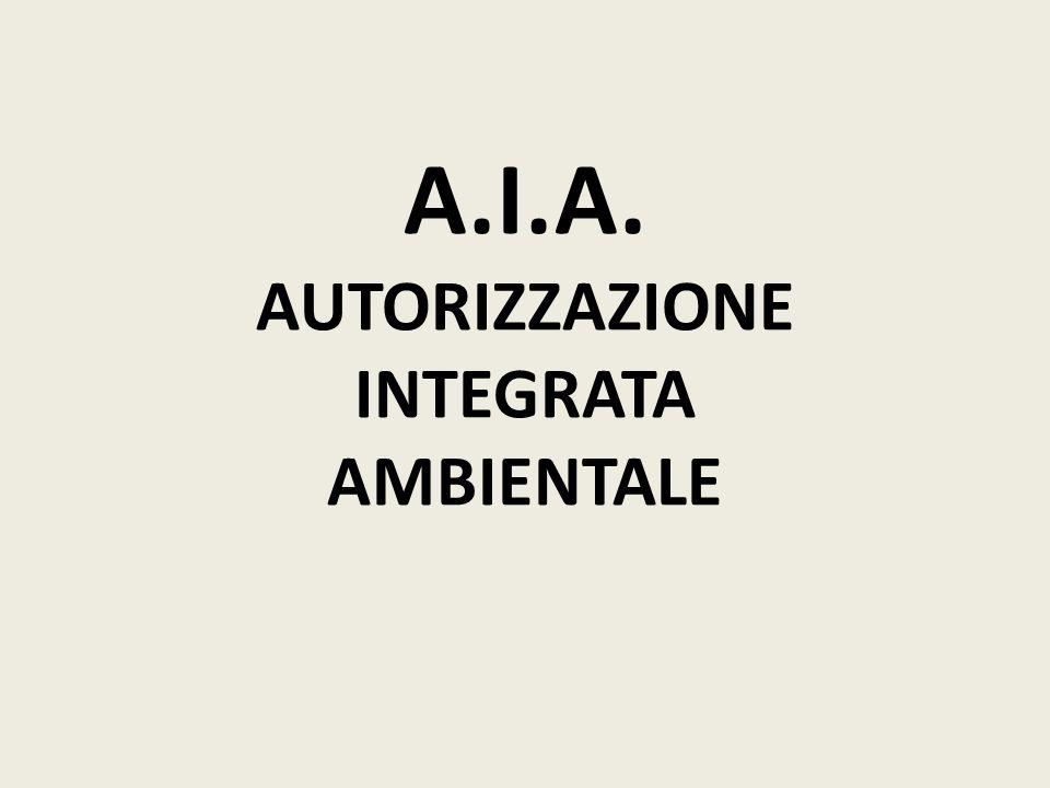 A.I.A. AUTORIZZAZIONE INTEGRATA AMBIENTALE