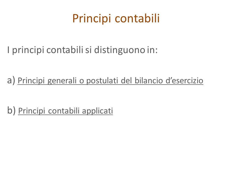 Principi contabili I principi contabili si distinguono in: