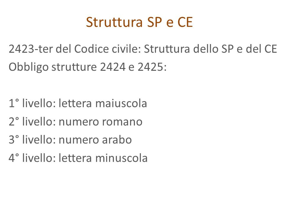 Struttura SP e CE 2423-ter del Codice civile: Struttura dello SP e del CE. Obbligo strutture 2424 e 2425: