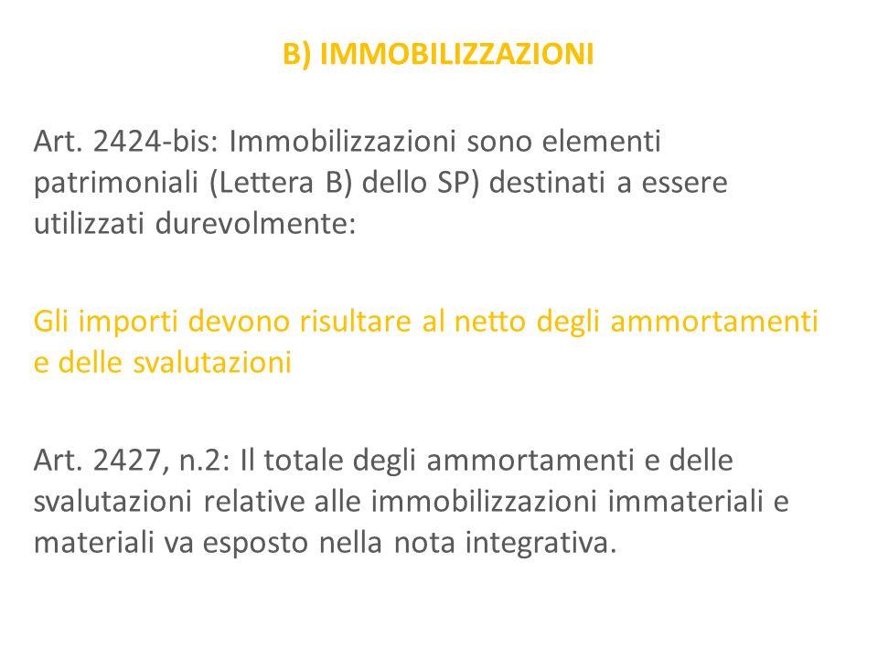 B) IMMOBILIZZAZIONI Art. 2424-bis: Immobilizzazioni sono elementi patrimoniali (Lettera B) dello SP) destinati a essere utilizzati durevolmente: