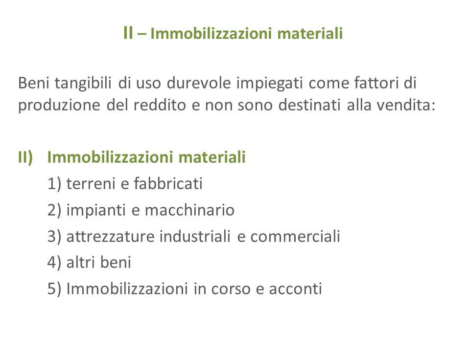 II – Immobilizzazioni materiali