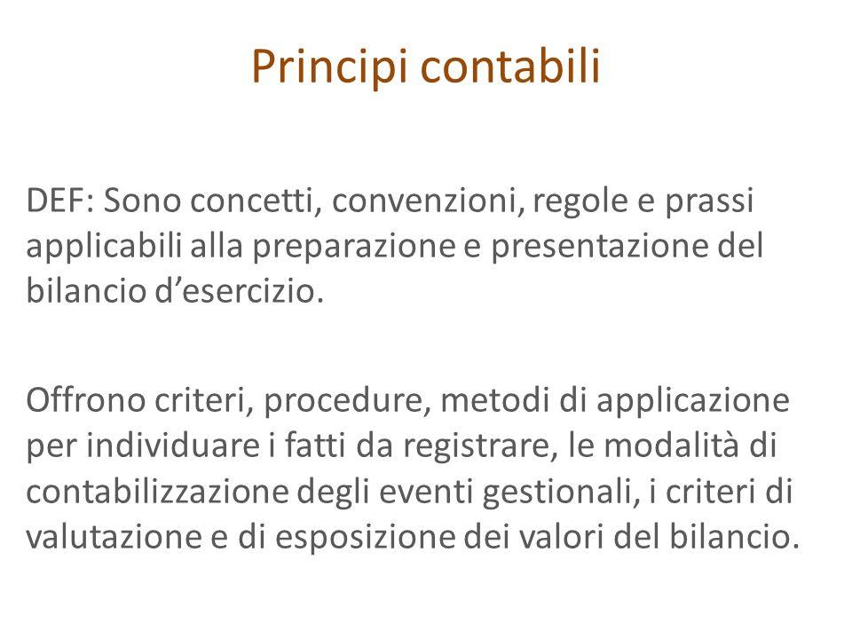 Principi contabili DEF: Sono concetti, convenzioni, regole e prassi applicabili alla preparazione e presentazione del bilancio d'esercizio.