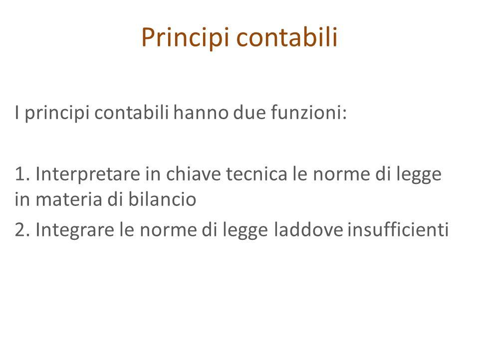 Principi contabili I principi contabili hanno due funzioni: