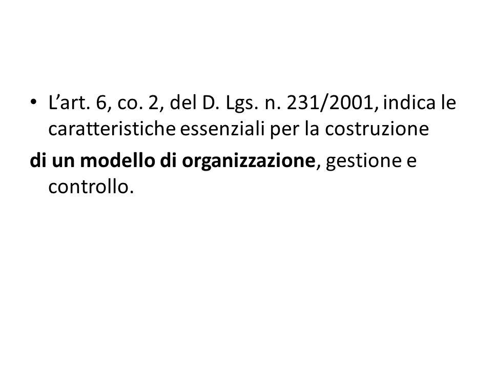 L'art. 6, co. 2, del D. Lgs. n. 231/2001, indica le caratteristiche essenziali per la costruzione
