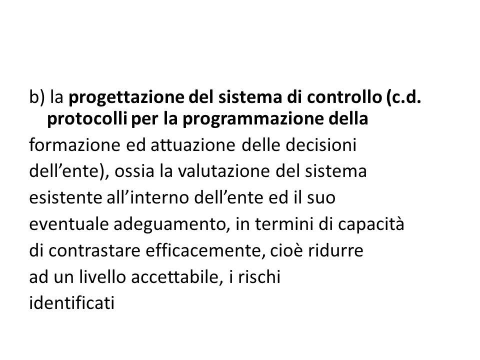 b) la progettazione del sistema di controllo (c. d