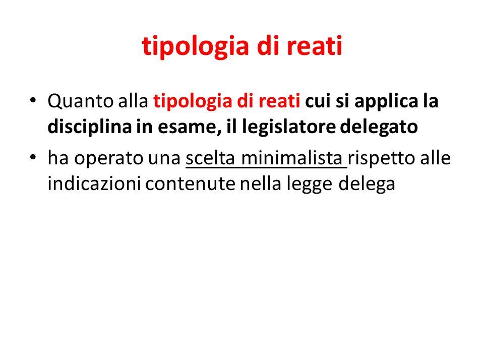 tipologia di reatiQuanto alla tipologia di reati cui si applica la disciplina in esame, il legislatore delegato.