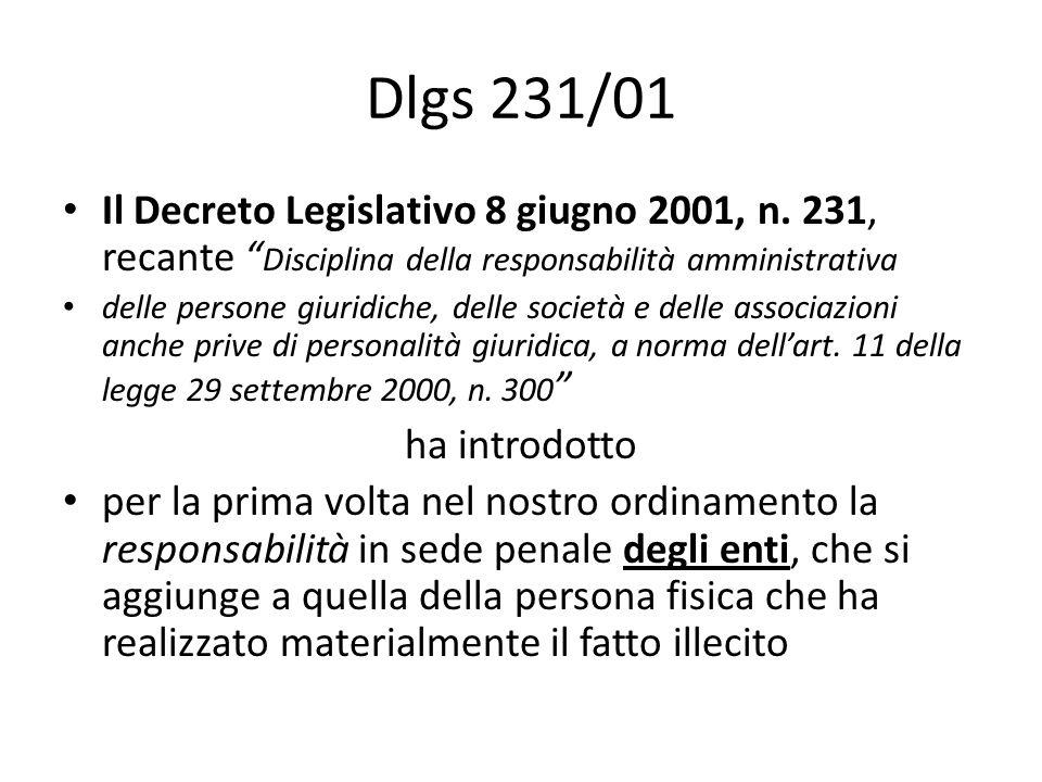 Dlgs 231/01 Il Decreto Legislativo 8 giugno 2001, n. 231, recante Disciplina della responsabilità amministrativa.