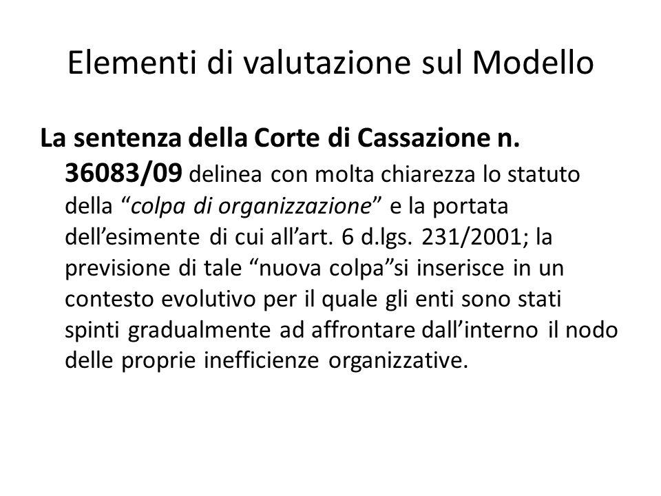 Elementi di valutazione sul Modello