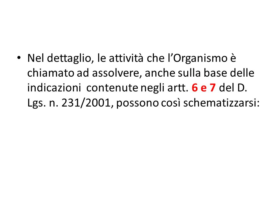 Nel dettaglio, le attività che l'Organismo è chiamato ad assolvere, anche sulla base delle indicazioni contenute negli artt.