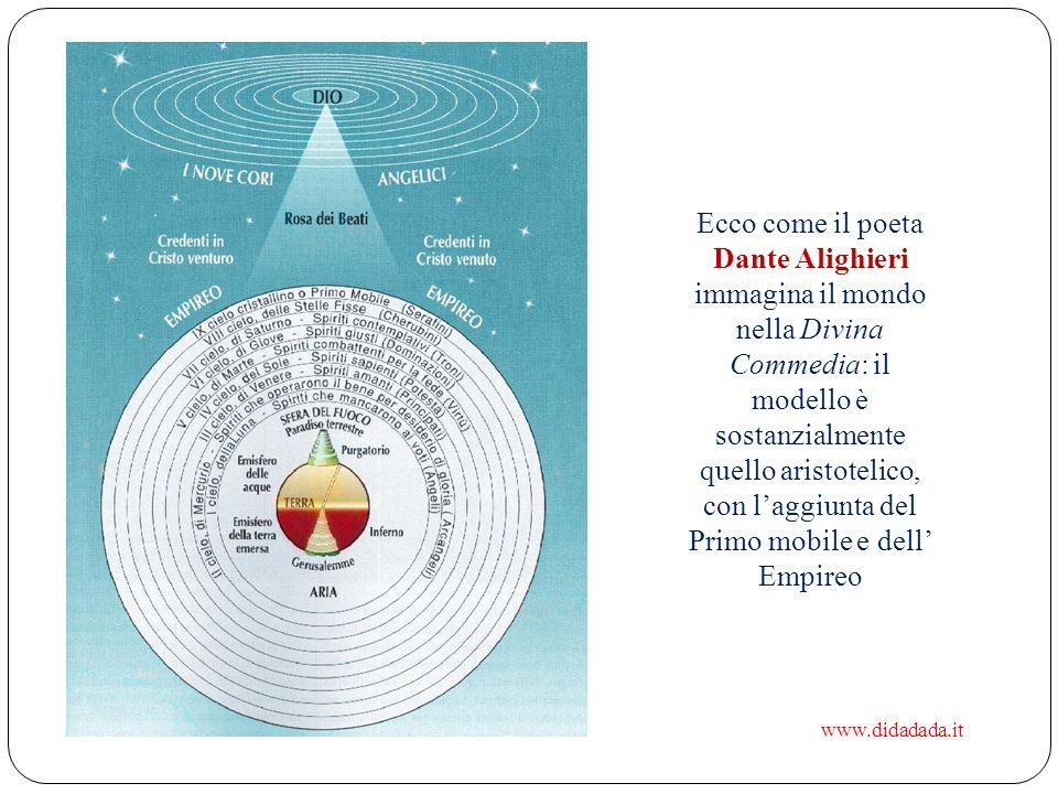 Ecco come il poeta Dante Alighieri immagina il mondo nella Divina Commedia: il modello è sostanzialmente quello aristotelico, con l'aggiunta del Primo mobile e dell' Empireo