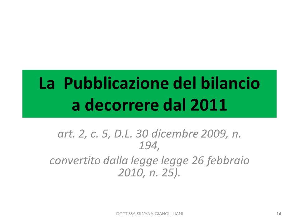La Pubblicazione del bilancio a decorrere dal 2011